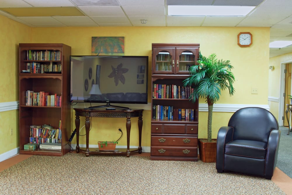 Bookcases and a large television at Bradenton Oaks in Bradenton, Florida