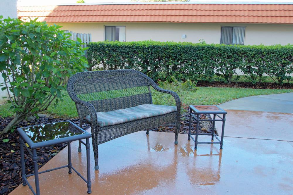 A bench outside at Bradenton Oaks in Bradenton, Florida