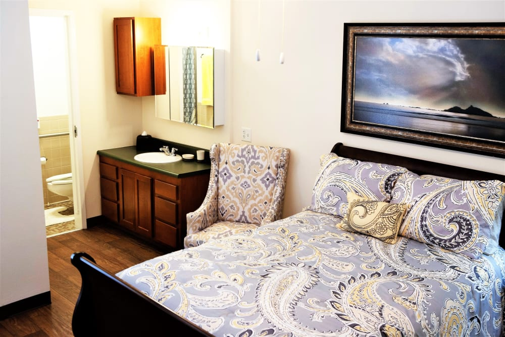 Lovely, modern bedroom at The Grande in Brooksville, Florida
