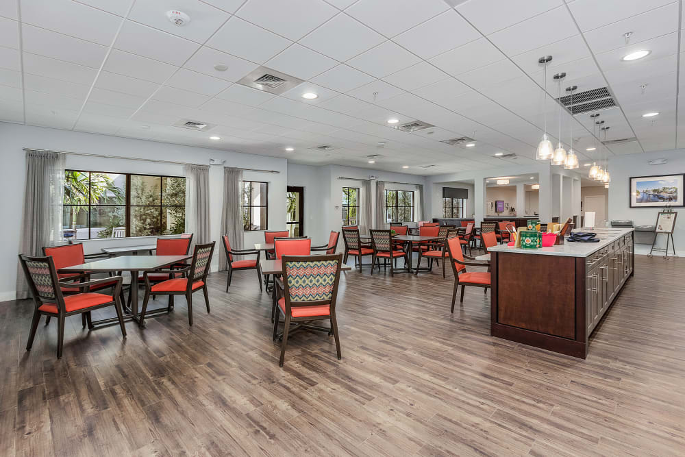 One of the many dining areas at Atrium at Liberty Park in Cape Coral, Florida