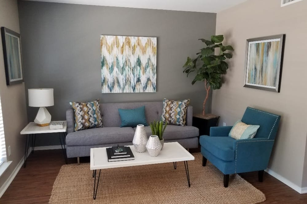 Bright living room at The Villages at Meyerland in Houston, Texas