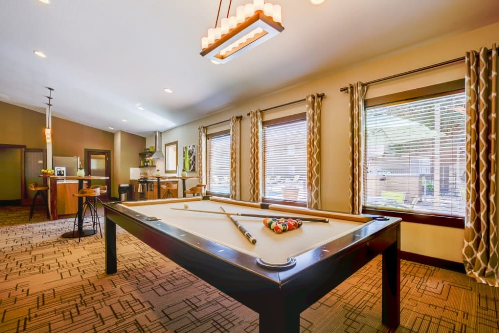 Billiards table in the clubhouse at 505 West Apartment Homes in Tempe, Arizona