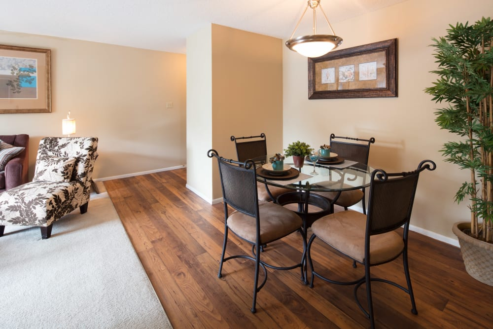 Partial view of the living area from the dining nook of a model home at Oxford Hills in St. Louis, Missouri