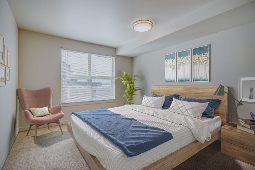 Well decorated bedroom at The 101 in Kirkland, Washington