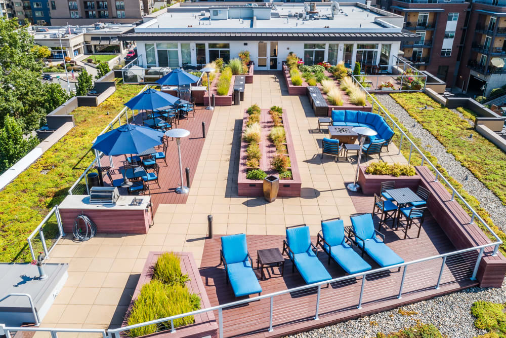 Rooftop patio lounge at The 101 in Kirkland, Washington