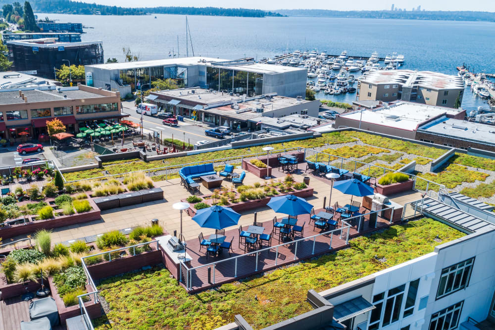 Rooftop deck at The 101 in Kirkland, Washington