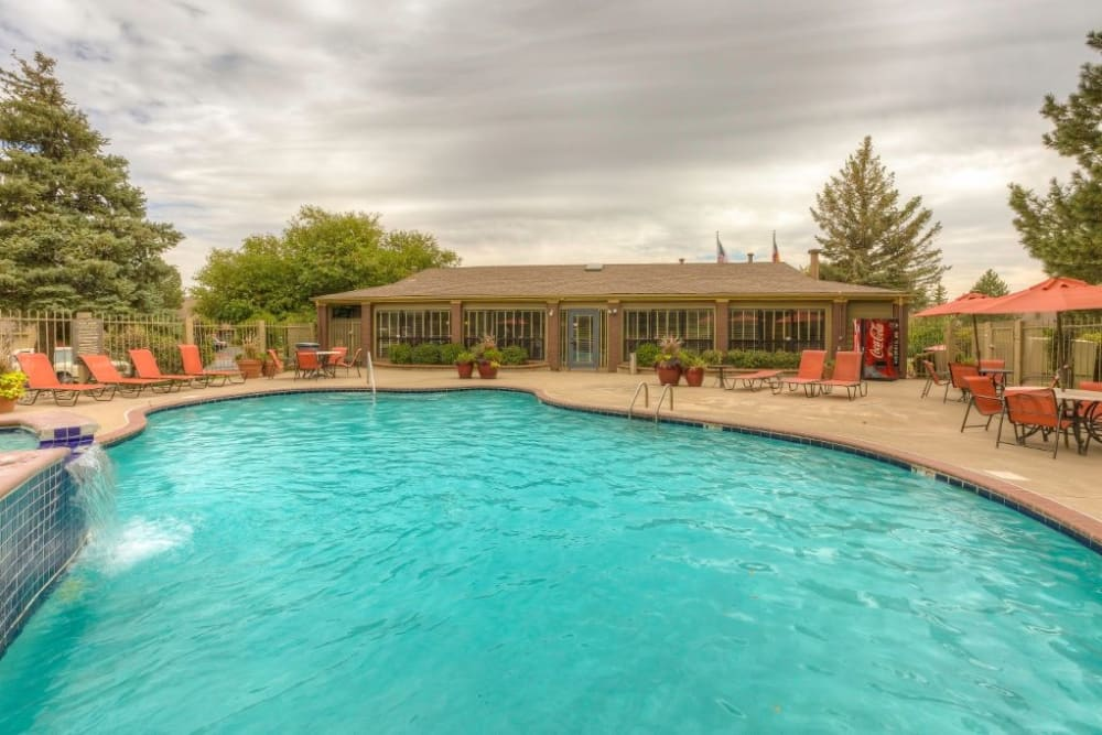 Swimming pool with a small waterfall at Skyline in Thornton, Colorado