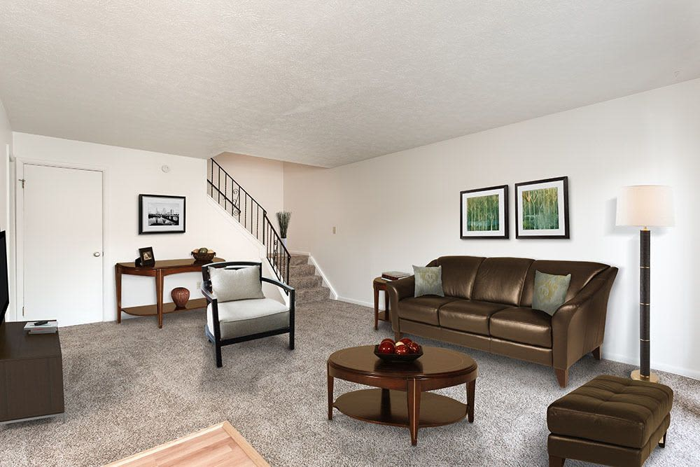 Comfortable Living room at Brighton Colony Townhomes in Rochester, New York