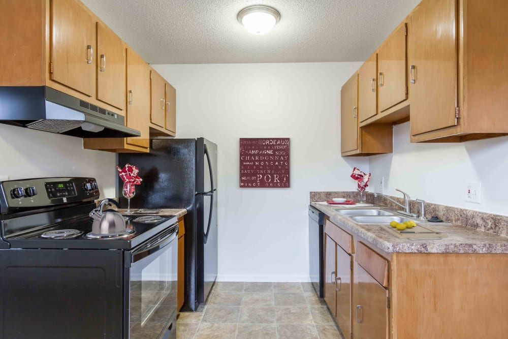 Bright kitchen at Penfield Village Apartments in Penfield, New York