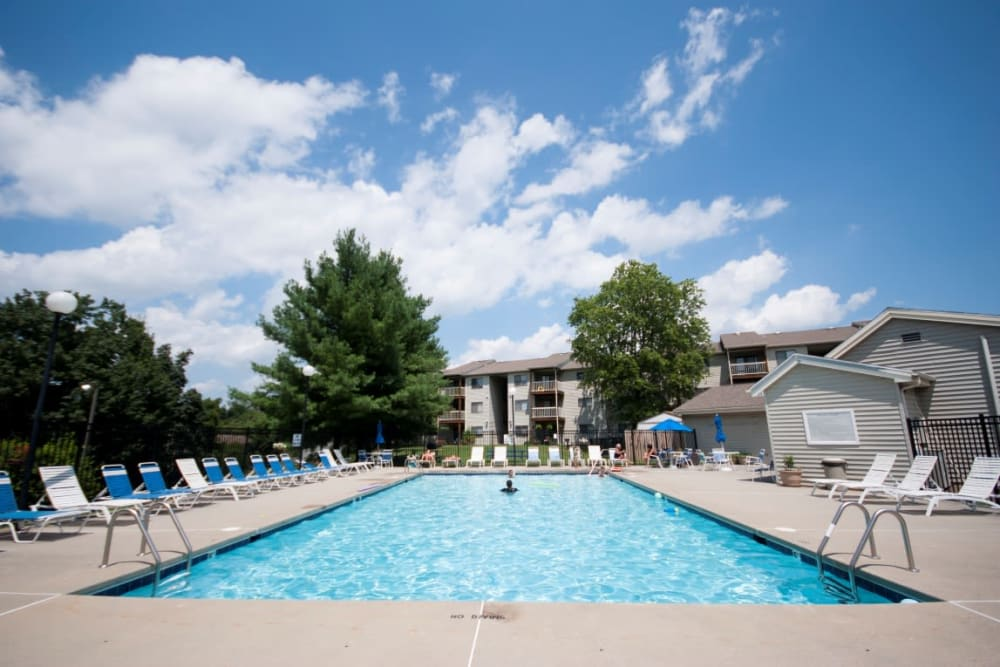 Beautiful pool at Hickory Woods Apartments in Roanoke, Virginia