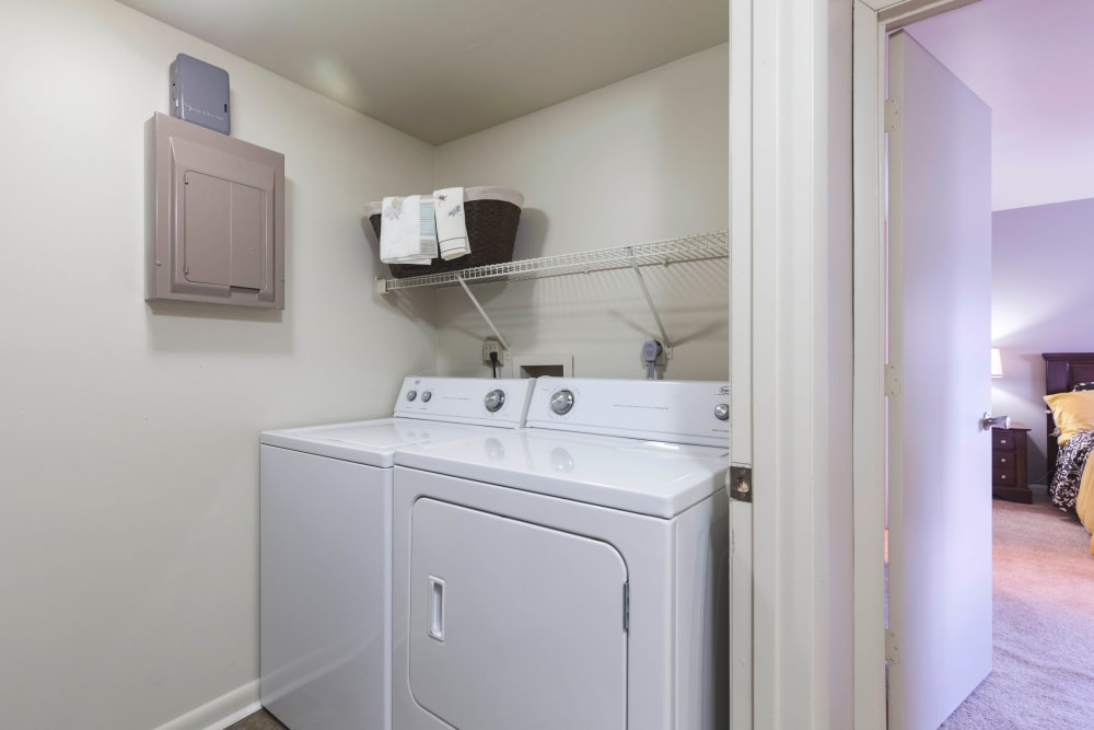 washer and dryer at Hickory Woods Apartments in Roanoke, Virginia