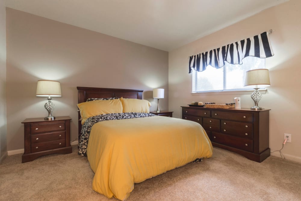 Beautiful bedroom at Hickory Woods Apartments in Roanoke, Virginia
