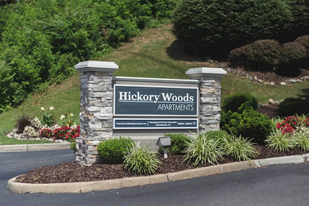 Front sign at Hickory Woods Apartments in Roanoke, Virginia