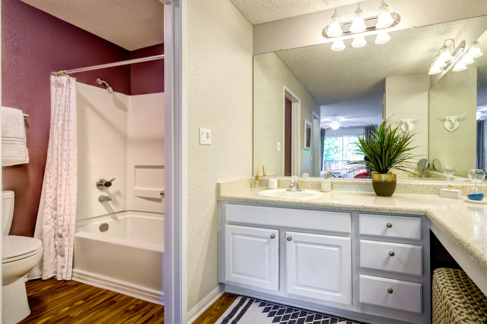 Large vanity mirror and plenty of cupboard and drawer space in a model home's bathroom at Sofi Irvine in Irvine, California