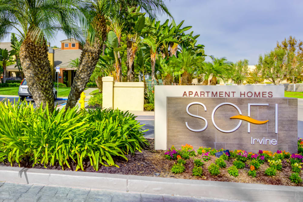 Monument sign welcoming residents and their guests to Sofi Irvine in Irvine, California