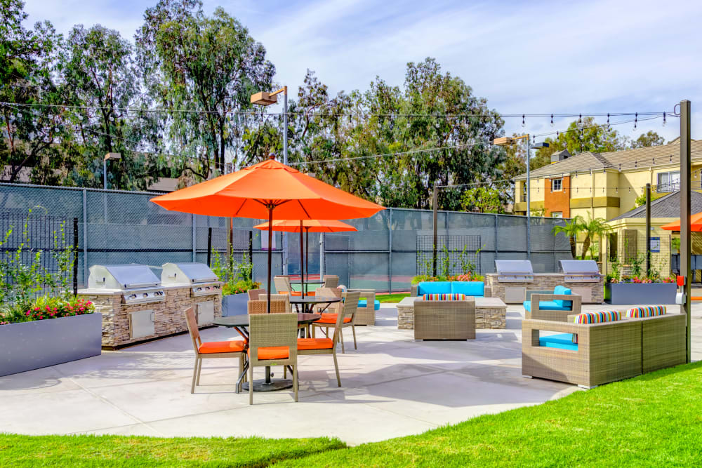 Barbecue area with gas grills near the fire pit at Sofi Irvine in Irvine, California