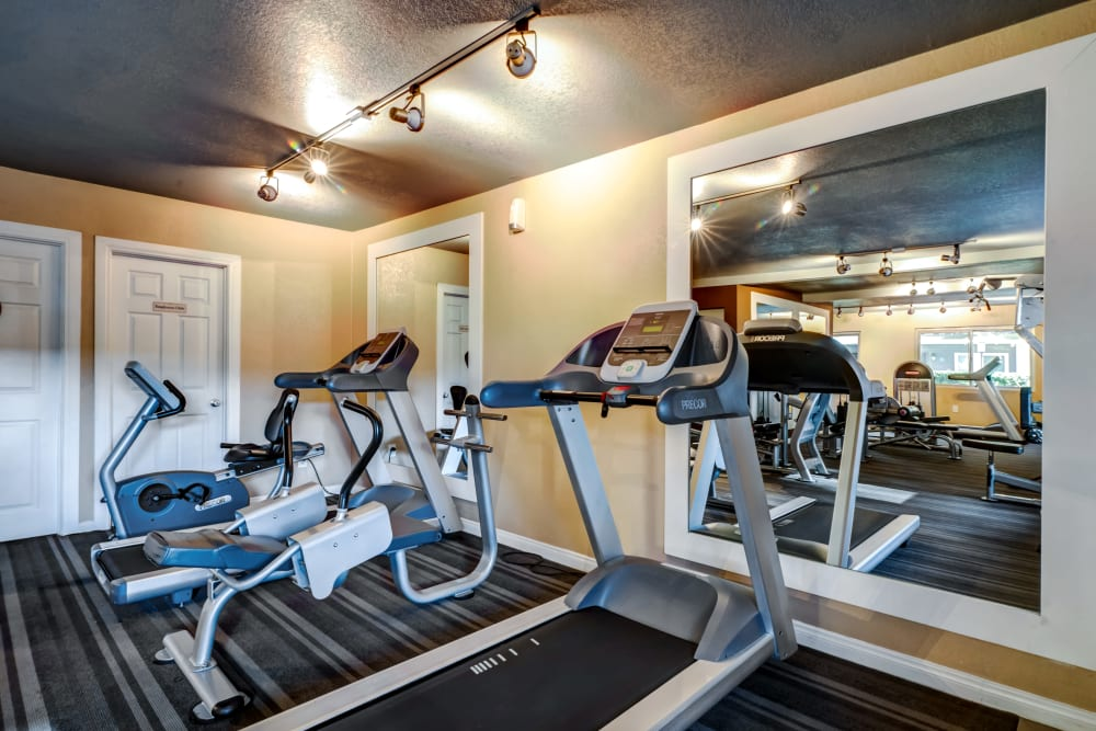 Cardio machines and more in the fitness center at Sofi Poway in Poway, California