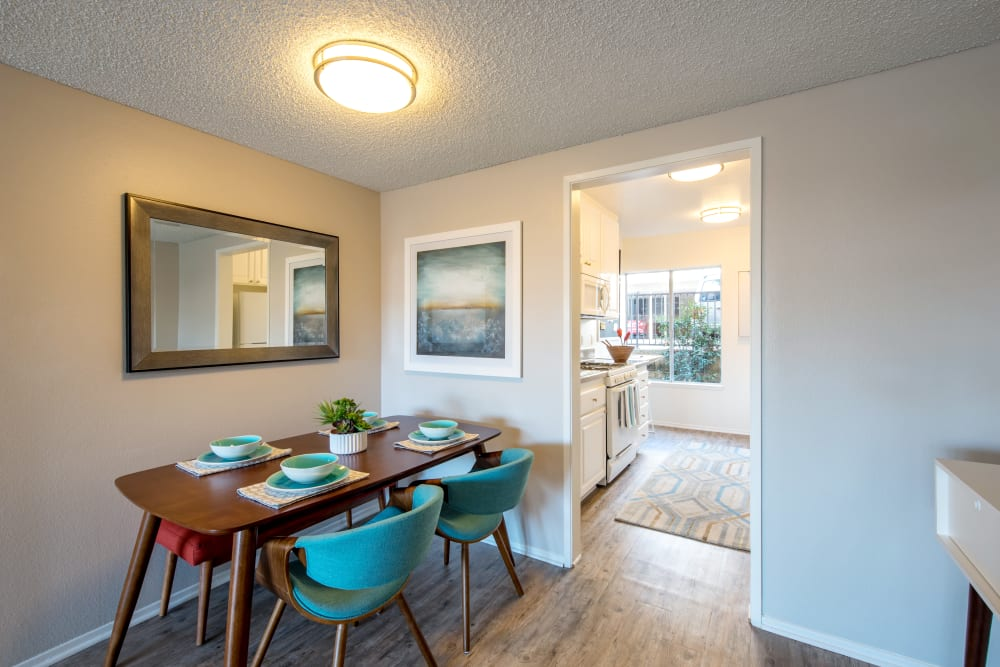 Dining area next to the kitchen in a model home at Sofi Thousand Oaks in Thousand Oaks, California