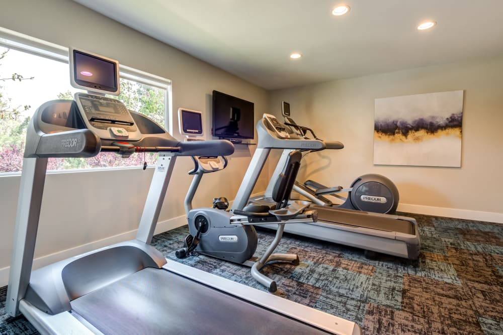 Treadmills and cardio machines in the fitness center at Sofi Thousand Oaks in Thousand Oaks, California