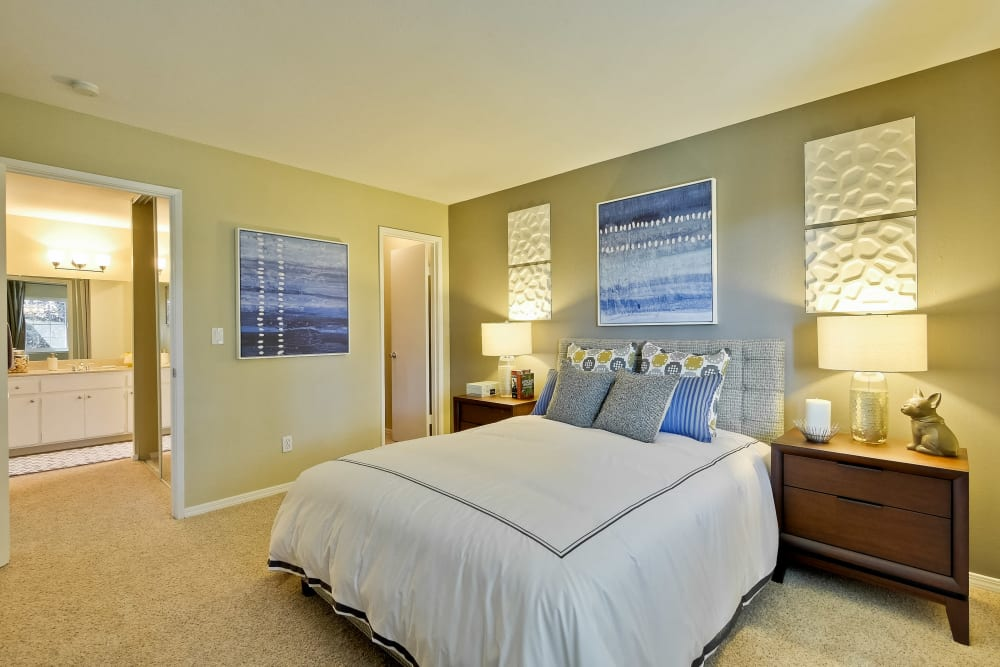 Master bedroom with an accent wall and en suite bathroom in a model home at Sofi at Los Gatos Creek in San Jose, California