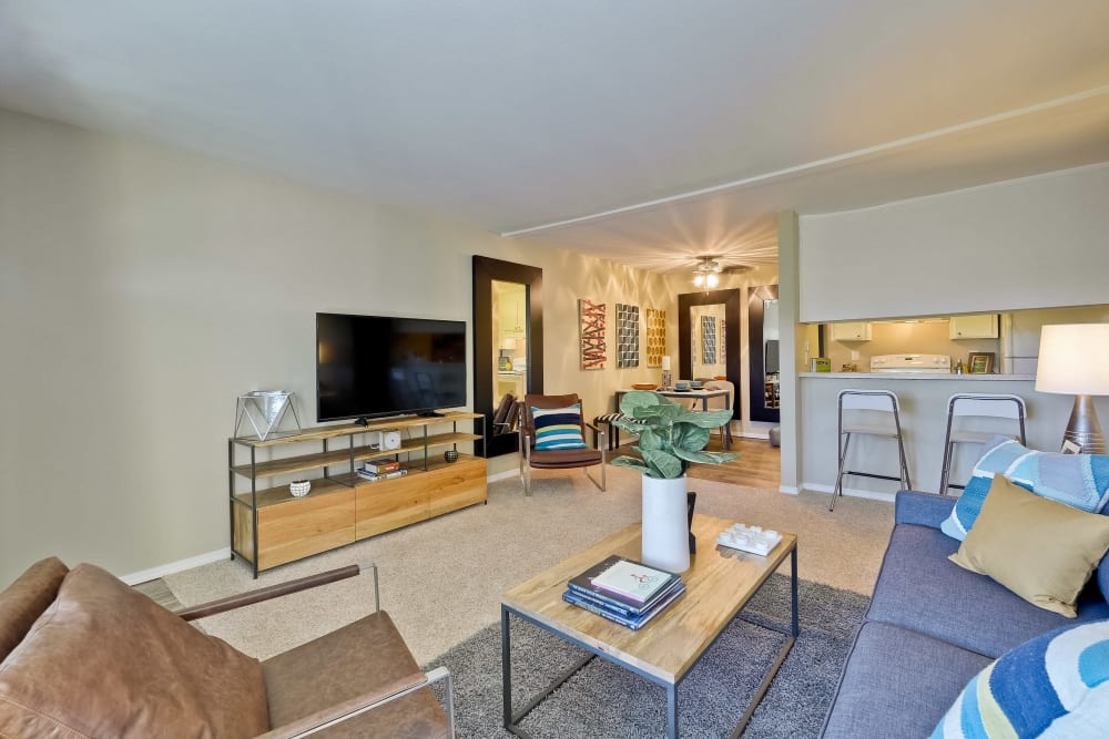 Spacious open-concept floor plan in a model home at Sofi at Los Gatos Creek in San Jose, California