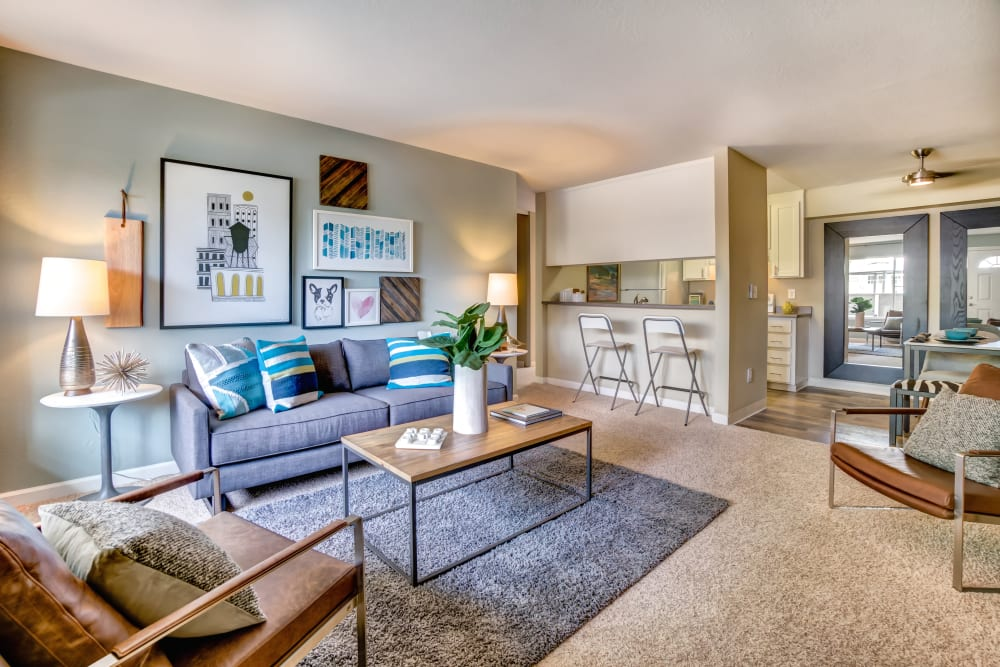 Well-furnished living space in a model home at Sofi at Los Gatos Creek in San Jose, California