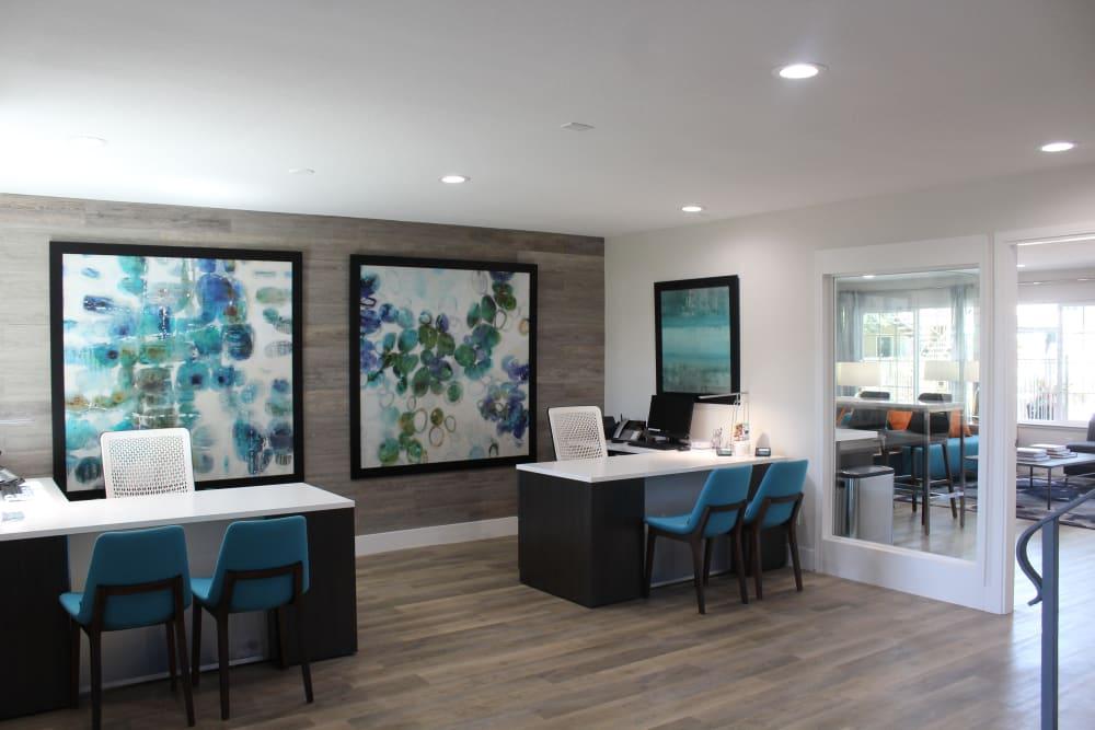 Leasing office interior at Sofi at Los Gatos Creek in San Jose, California