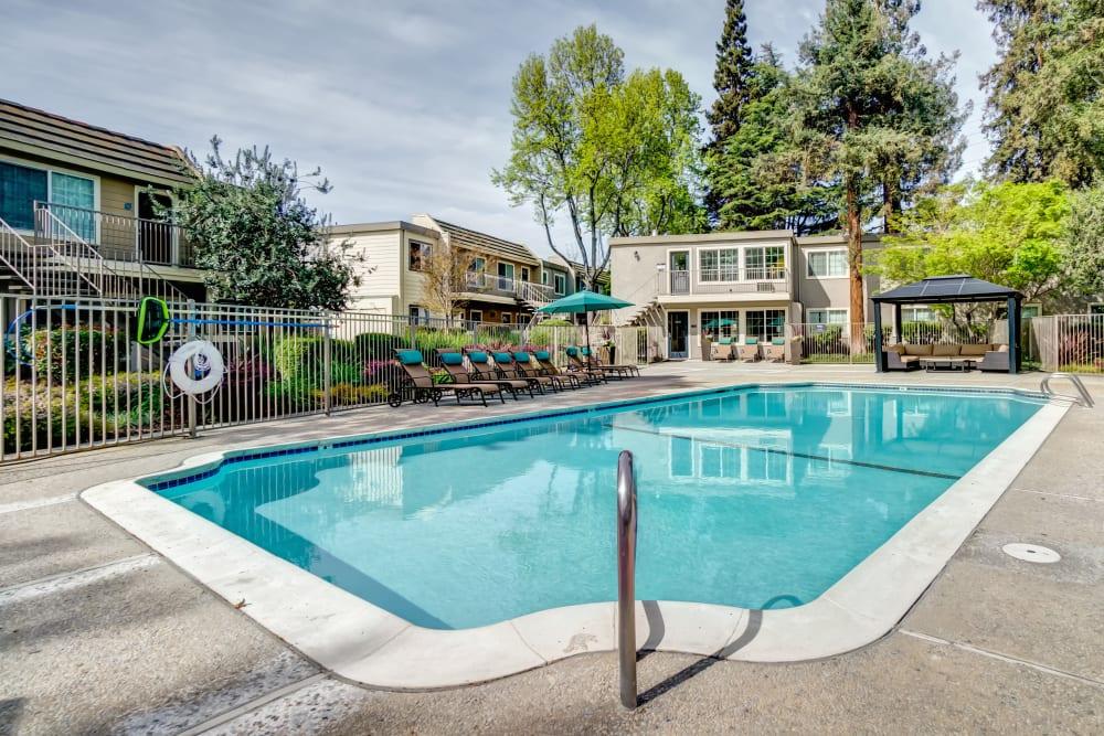 Resort-style swimming pool at Sofi at Los Gatos Creek in San Jose, California