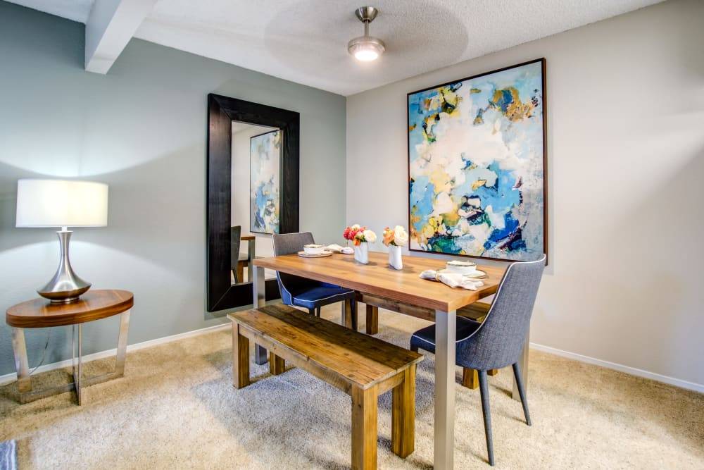 Well-furnished dining area in a model home at Vue Fremont in Fremont, California