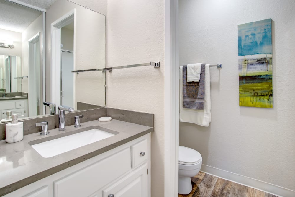 Granite countertop and a large vanity mirror in a model home's bathroom at Vue Fremont in Fremont, California