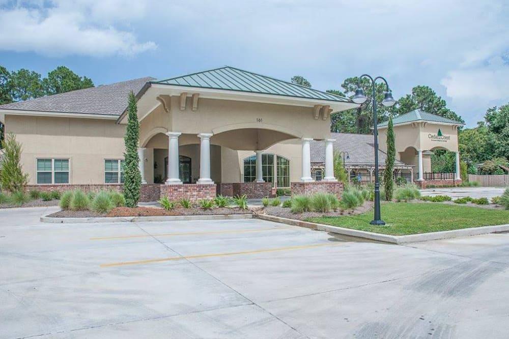 The outside of Cedar Crest Memory Care in Lafayette, Louisiana