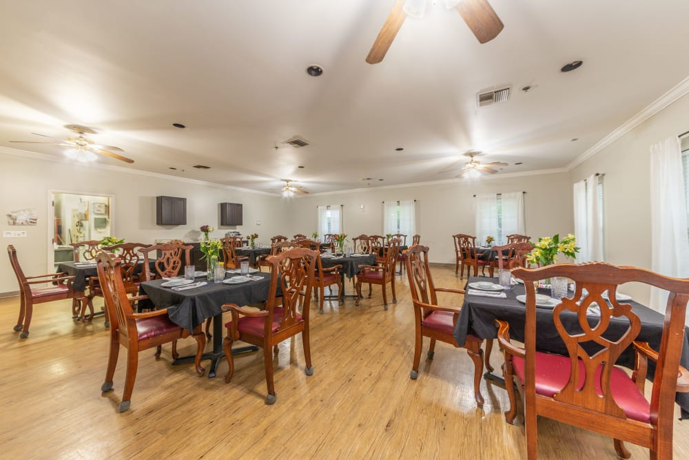 One of the dining areas at Cedar Crest Memory Care in Lafayette, Louisiana