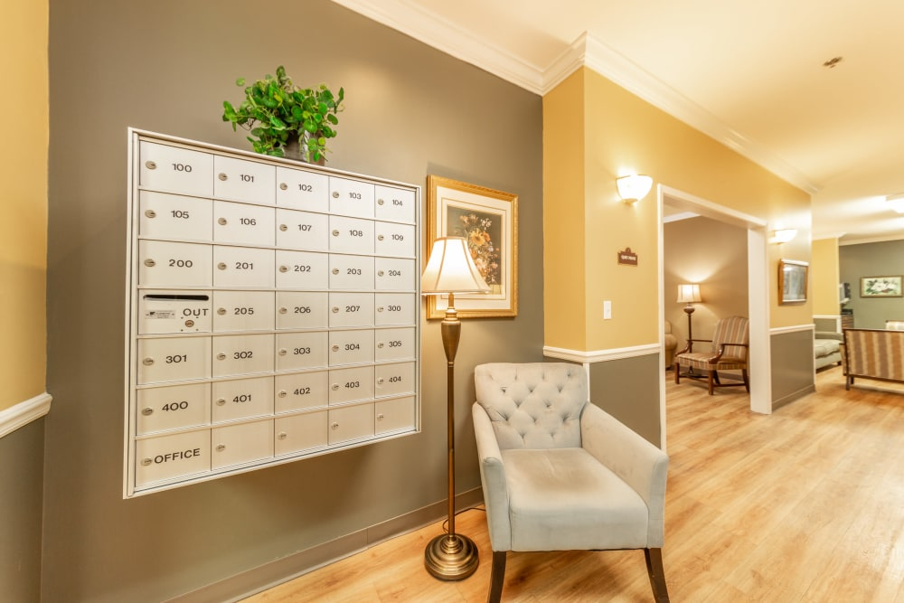 Conveniently located mail boxes at Cedar Crest Memory Care in Lafayette, Louisiana