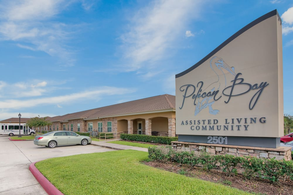 The front sign and exterior of Pelican Bay in Beaumont, Texas