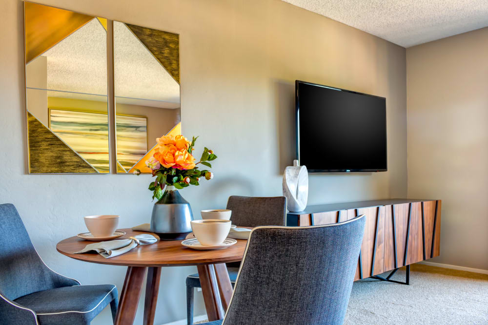 Well-furnished dining nook in a model home at Sofi Belmont Hills in Belmont, California