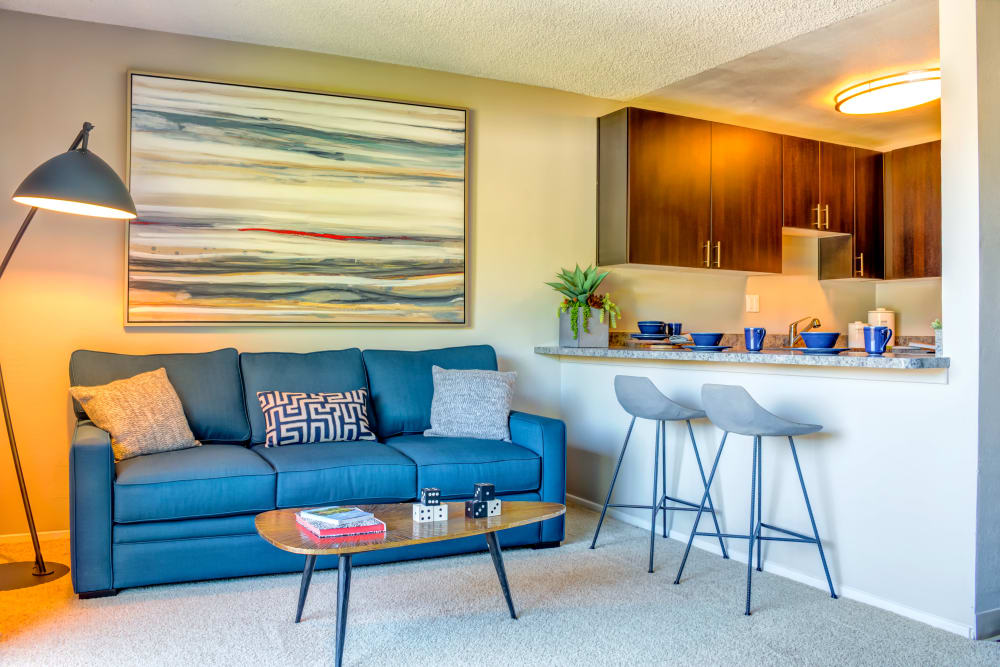 Modern decor in the living area of a model home at Sofi Belmont Hills in Belmont, California