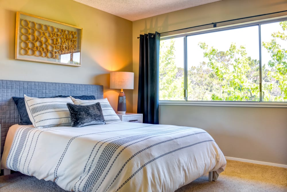 Plush carpeting in the master bedroom of a model home at Sofi Belmont Hills in Belmont, California