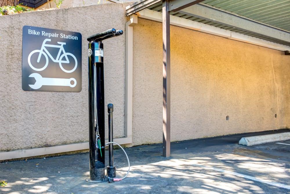 Bicycle repair station at Sofi Belmont Hills in Belmont, California
