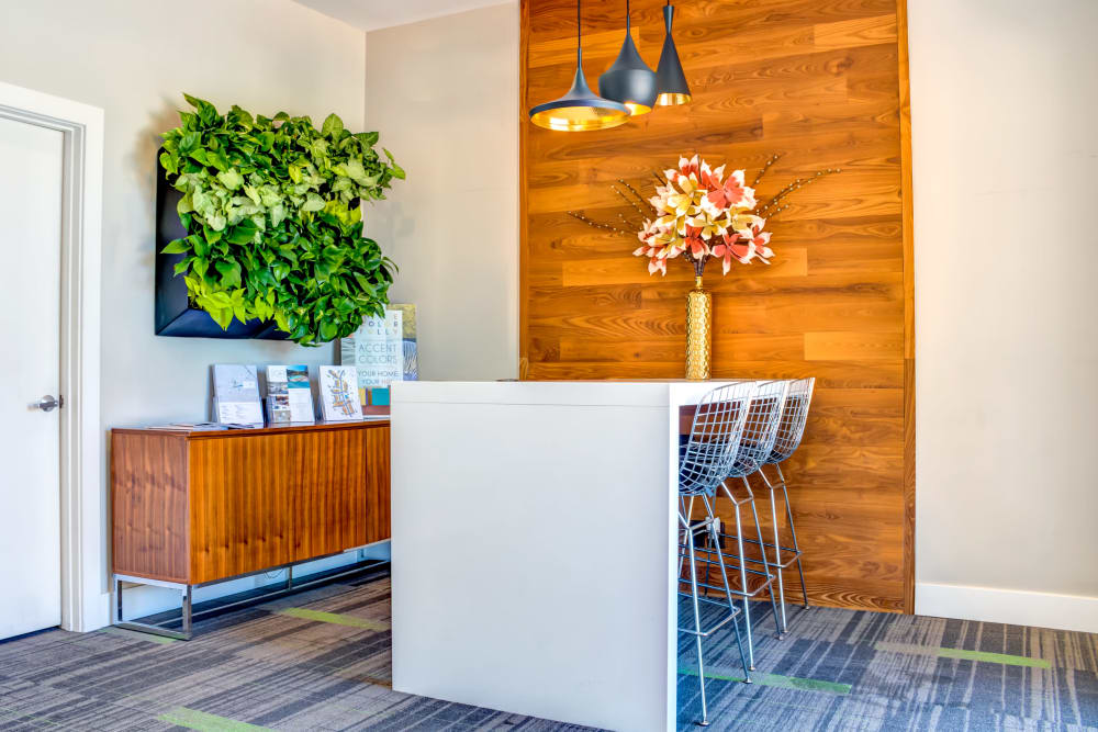 Leasing center interior at Sofi Belmont Hills in Belmont, California