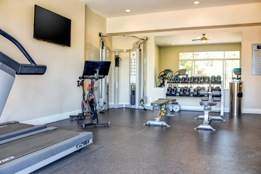 Onsite fitness center at Sofi Belmont Hills in Belmont, California