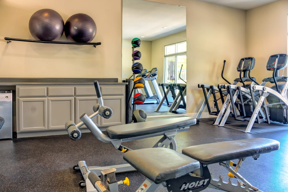 Cardio equipment and strength training machines in the fitness center at Sofi Belmont Hills in Belmont, California