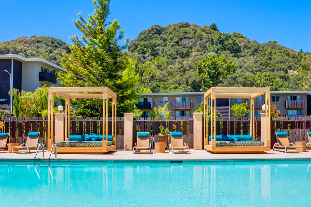Resort-style pool with lush hills in the background at Sofi Belmont Hills in Belmont, California