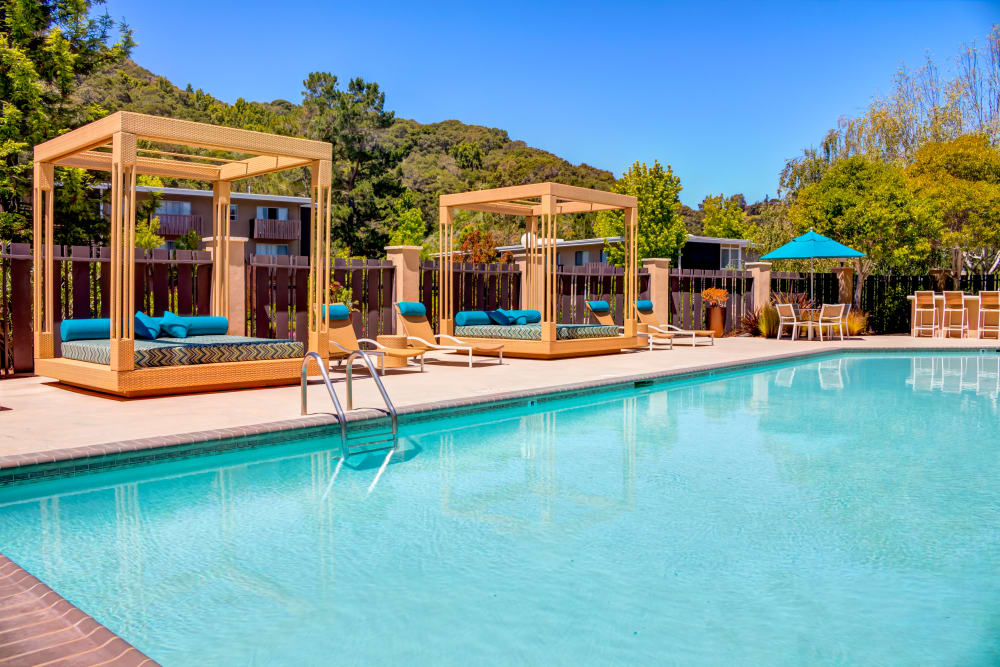 Cabanas near the pool at Sofi Belmont Hills in Belmont, California