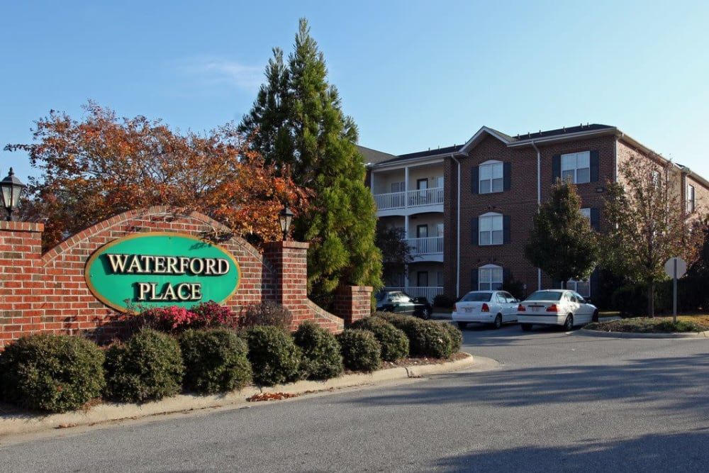 Front sign of Waterford Place in Greenville, North Carolina