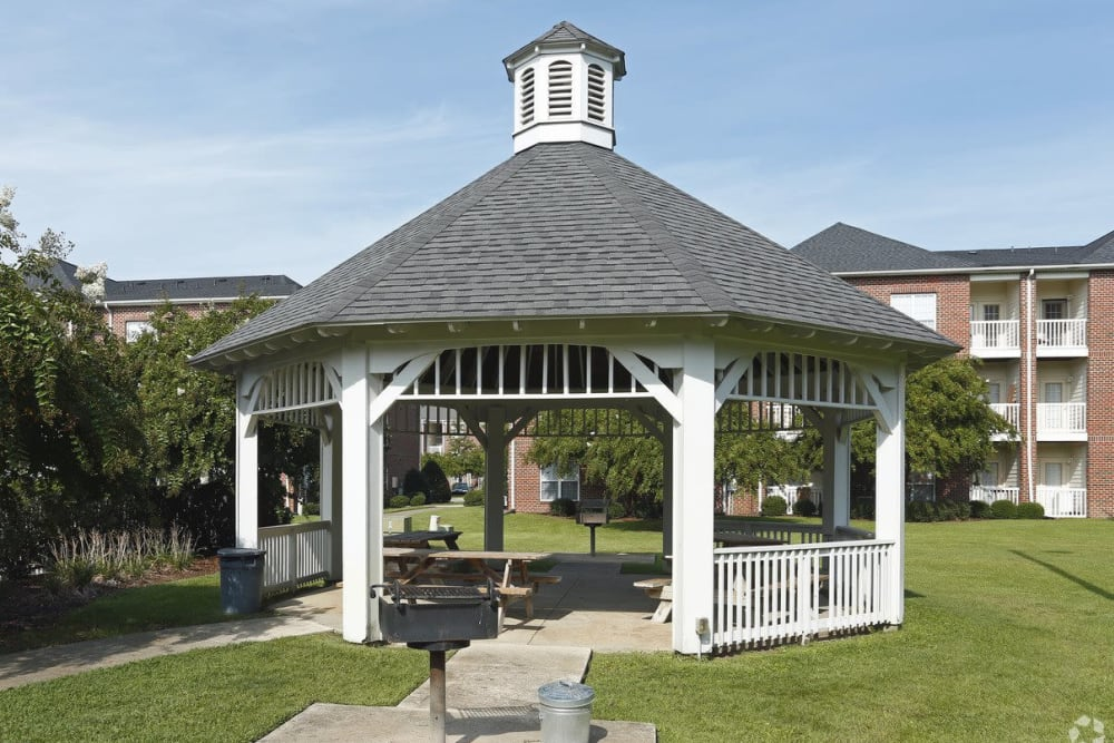 Outdoor pavilion and barbecue area at Waterford Place in Greenville, North Carolina