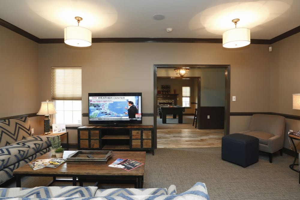 Community TV area and sofa at Waterford Place in Greenville, North Carolina