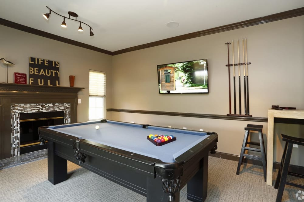 Billiards table at Waterford Place in Greenville, North Carolina