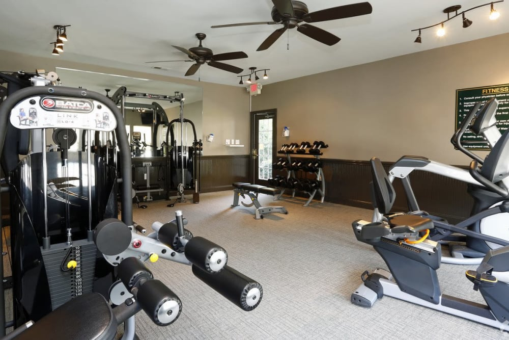 Fully equipped fitness center at Waterford Place in Greenville, North Carolina