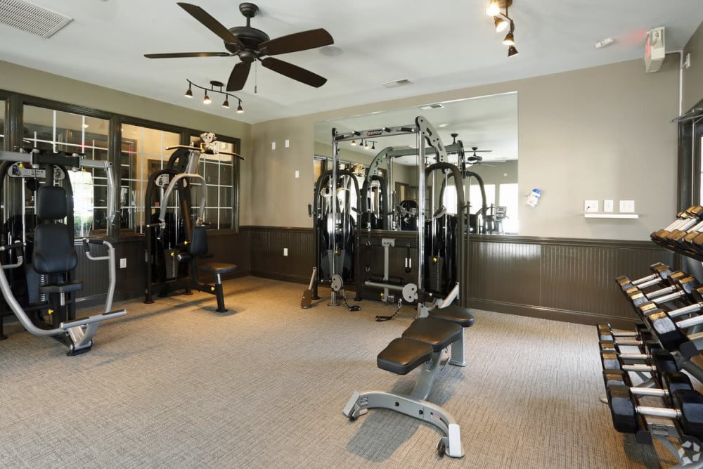 Fitness center at Waterford Place in Greenville, North Carolina
