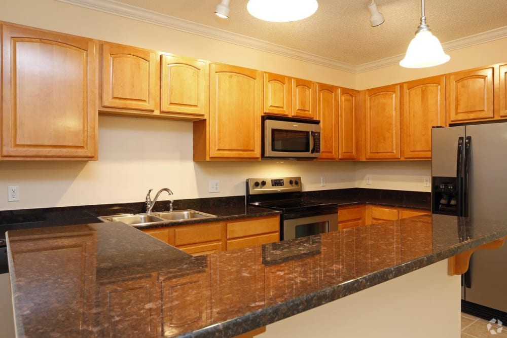 Large countertops at Waterford Place in Greenville, North Carolina